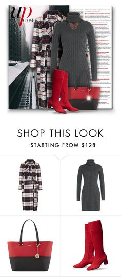 """Plaid Coat"" by debraelizabeth ❤ liked on Polyvore featuring Topshop, Barbara Bui, DKNY and Lucky Brand"