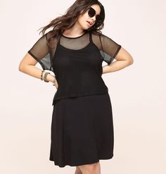 901b23f52182 Get new dresses that speak to your alternative style like this plus size  Mesh Popover Dress