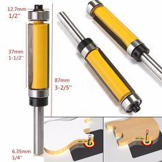 "Flush Trim Router Bit Top & Bottom Bearing 1-1/2""H X 1/4"" Shank Woodworking Tool"