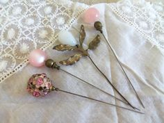 Antique Hat Pins Romantic Pinks by VintageSilverLining on Etsy, $48.00