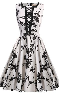 Casual Sleeveless Floral Square Neck Vintage Style Party Dress. I would add a red balero jacket.
