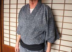 Men's Yukata & Heko Obi Set, Vintage Japanese Indigo Printed Shibori Cotton Yukata Robe, Shibori Heko-Obi Sash, Free Registered Air Shipping by KominkaFabricsJapan on Etsy