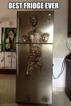 Han Solo Carbonite fridge… This is the best thing I have ever seen in my entire life. I will find it. It will be mine. In my house. In my kitchen. As God is my witness, my food will be kept in this fridge.