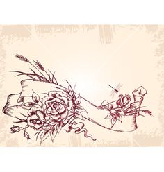 Vintage banner with roses vector by Artspace on VectorStock®