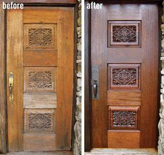 Tips and Tricks for How to Refinish a Stained Wood Front Door - Restain DIY Do it yourself home house fix easy cheap budget entry not remu2026 & Tips and Tricks for How to Refinish a Stained Wood Front Door ...