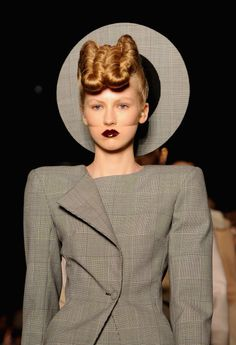 """""""Viscous, vino-stained"""" lips took centre stage at Gareth Pugh, with makeup…"""