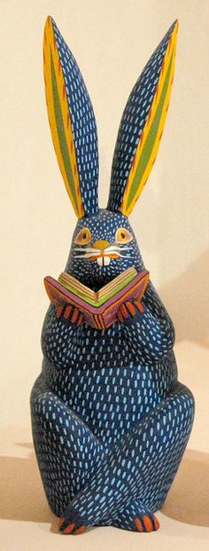 Carved, painted rabbit made of wood, Oaxaca, Mexico