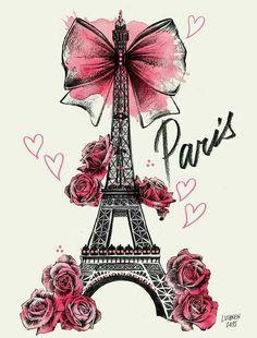 Lutheen Illustration - Draw - 'Roses for Paris'… Wallpaper Rose, Wallpaper Backgrounds, Iphone Wallpaper, Girly Drawings, Art Drawings, Paris Kunst, Art Parisien, I Love Paris, Paris Eiffel Tower