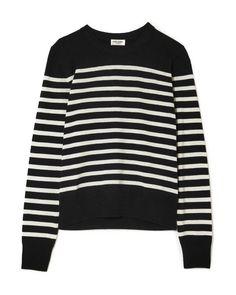 Saint Laurent - Black Striped Cashmere Sweater - Lyst Black Sweaters 807a18204