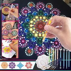 Rock Painting Patterns, Dot Art Painting, Rock Painting Designs, Mandala Painting, Dot Painting Tools, Mandala Dots, Mandala Design, Mandela Art, Mandala Art Lesson
