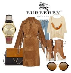 """Tassel Burberry Prosurm"" by nurinur ❤ liked on Polyvore featuring Burberry, rag & bone, N.Peal, Chloé, Jimmy Choo and Venna"