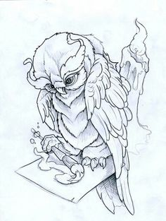 Artistic Owl Tattoo Design.