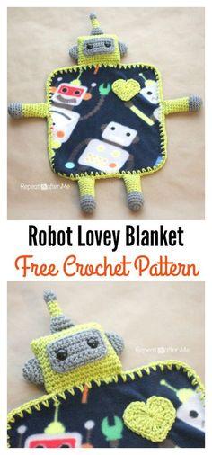 Crochet Robot Lovey Blanket Free Pattern