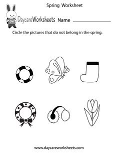 Preschoolers have to circle the pictures that do not belong in spring in this free seasonal worksheet.