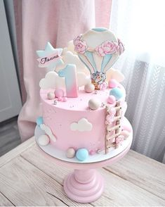 Likes, 108 Kommentare – Das … – Baby birthday cake – - Kuchen-Designs Fondant Girl, Fondant Cakes, Cupcake Cakes, Baby Birthday Cakes, Birthday Kids, Cake Baby, Girls First Birthday Cake, Girl Cakes, Cute Cakes