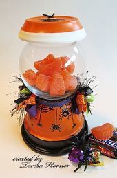 One of my favorite crafts to make is a version of this pot jar candy holder. All the beautiful colors of ribbon this month at Really Reaso. Clay Pot Projects, Clay Pot Crafts, Jar Crafts, Tree Crafts, Diy Projects, Dulceros Halloween, Halloween Projects, Halloween Crafts To Sell, Clay Flower Pots