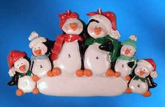 Personalized Penguin Family Christmas Ornament with 4 Children image