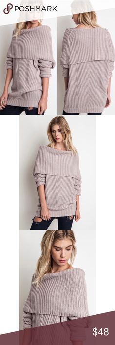 NEW!! Chunky Off the Shoulder Sweater Top in Mauve NEW!! Chunky Off the Shoulder Sweater Top in Mauve. Also available in Black. No Trades. Price is Firm Unless Bundled. 2 items 10% Off 3 Items 15% Off. GlamVault Sweaters