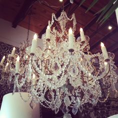French vintage crystal chandeliers at Boxwood Interiors, Houston, Texas