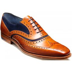 Handmade by expert Northamptonshire craftsman, these McClean Brogues by Barker have been manufactured using the respected Goodyear welt technique, ensuring that these shoes are built to last. These Oxford front lace-up shoes feature traditional punched detailing throughout, delightful suede and leather two-tone combinations. http://www.marshallshoes.co.uk/mens-c1/barker-mens-mcclean-cedar-calf-brogue-tie-shoe-with-blue-suede-p1869