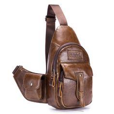 Ekphero Vintage Genuine Leather Large Large Capacity Travel Chest Bag  Crossbody Bag For Men is worth 9c2335a5fabb9