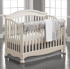 Crib Bedding For Boys | Nursery Linen | Boy Crib Sets | Liz and Roo Fine Baby Bedding. This elegant damask crib bedding set features a mix of linen and dossett fabrics, a modern and sophisticated look for today's nurseries.