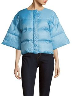 JIL SANDER Solid Zip-Front Puffer Jacket. #jilsander #cloth #jacket
