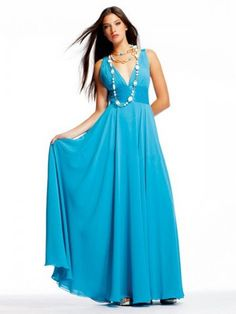 Prom Dress, Prom Dresses, 2014 Style A-line V-neck Ruffles Sleeveless Floor-length Chiffon Blue Prom Dress/Evening Dress