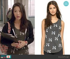 e3e4cc9c18 Kira s bow print top and cropped hoodie on Teen Wolf