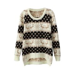 Christmas Sweater Asymmetric Deer Snowflake Knitted Cream Jumper