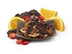 Teavana - Orange Chocolate Sweet Spice Herbal Tea - 2oz $7.98 - Decadent rich chocolate marries elegant Italian style orange marmalade to evoke the flavor of chocolate covered orange slices. Threads of sweet chili threads unite this dynamic cup by adding a whisper of heat and spice to the infusion.  Sweet chocolate Cocoa forward with bright orange & hints of sweet spice, chilithreads.