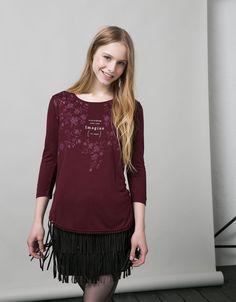 BSK floral print top with crochet hem - T- Shirts - Bershka United Kingdom