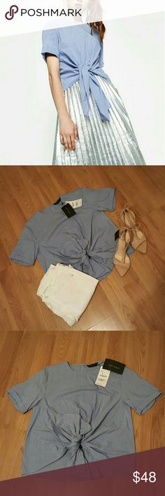 NWT Zara Women's blouse NWT Brand new Women's collection stripped blouse. Light weight and ties in the front. Back buttons. Never worn! Perfect condition. Zara Tops Blouses