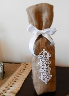 Burlap wine bag by MadeInBurlap on Etsy, $4.60