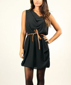 Look at this Black Belted Drape Dress on #zulily today!