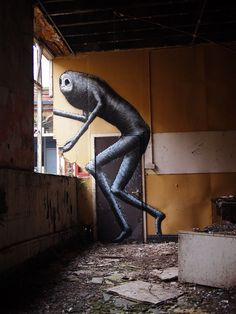 (Art/ Graffiti art by) Phlegm, 'The Old School', Sheffield, UK