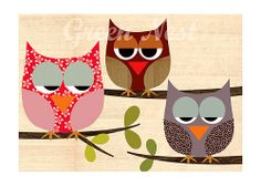 Cute retro patterm owls sitting on a branch collage poster print on