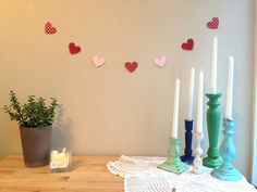 Sweet pink heart banner - Valentines Day Party Heart Banner, Heart Garland, Hanging Hearts, Paper Hearts, Valentines Day Party, Red And Pink, Banners, Unique Jewelry, Sweet