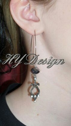 Earrings. Antique Silver, Charcoal Grey, Crystal Rhinestone. Handmade jewelry. Fashion, Style, Glam, Sparkle, metal, dressy. #HYD