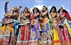 Gujarati ladies put on traditional dress like gangra choli.