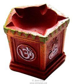 Diya Rangoli Terracotta Tulsi (Holy Basil Stand) Candle Holder 5-wick Diwali wedding Home Decor Indian Handicraft Square-1
