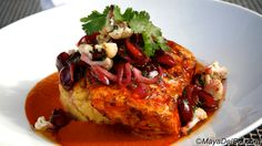pescado del dia | pan seared opah · chickpea purée · truffle chili arbol sauce · bing cherry salad