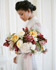 """A Storybook Parisian Wedding Inspiration. I love this fine art wedding with the moody burgundy and soft yellow tones. It's elegant and perfect for a fall wedding without being super """"Theme-y"""". I love storybook or fairy tale inspired weddings! Parisian Wedding, Floral Wedding, Fall Wedding, Wedding Flowers, Parisian Style, Ivory Wedding, Elegant Wedding, Bridesmaid Bouquet, Wedding Bouquets"""