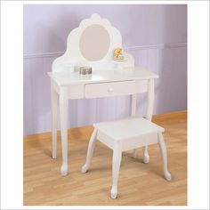 $240 what natasha wants for her birthday Crafted Vanity and Stool in White for 3-8 yr old girls KidKraft
