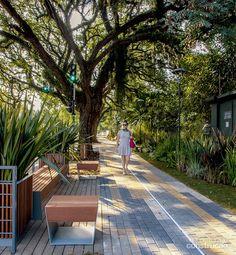 Calçada larga, acessível, iluminada, drenante e cheia de verde - Casa