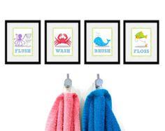 Bambini sotto le stampe di bagno mare - Set 4 - sotto il mare tema bambini bagno regole