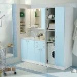 Cool laundry room shelving ideas Laundry Room Organization Ideas Light Blue Counters White Sink Simple Mirror Design