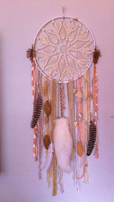 Huge Shimmering White & Gold DREAMCATCHER with fox tail, crystals, vintage trims FREE SHIPPING. #dreamcatcher #rachaelrice