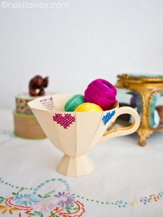 Embroidered paper tea cup with template