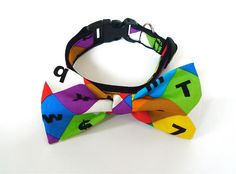Bowtie Collar Colorful alphabet by usagiteam on Etsy, $24.00